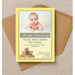 Teddy Bears' Picnic Photo Birth Announcement Card