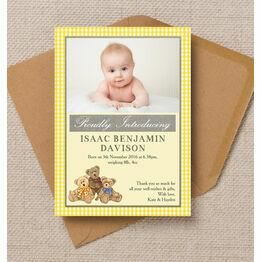 Teddy Bears\' Picnic Photo Birth Announcement Card