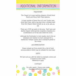 Candy Confetti Guest Information Card