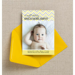 Chevron Birth Announcement Card