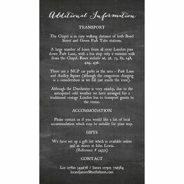 Chalkboard Guest Information Card