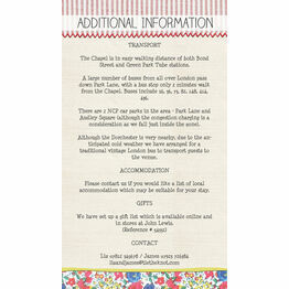 Country Textiles Guest Information Card