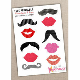 Printable Moustache and Lips Photo Booth Props