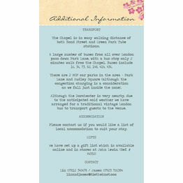 Pastel Pretty Guest Information Card