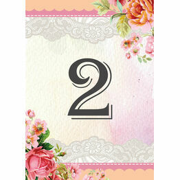 Pastel Watercolour Table Number
