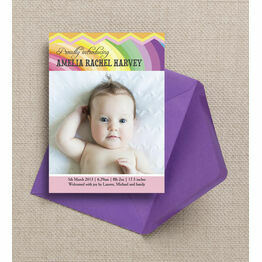 Rainbow Fiesta Birth Announcement Card