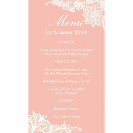 Romantic Lace Menu