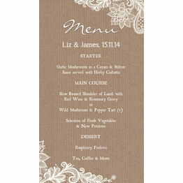 Rustic Lace Menu