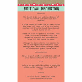 Rustic Woodland Guest Information Card
