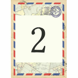 Vintage Airmail Table Number