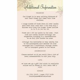 Winter Wonderland Guest Information Card