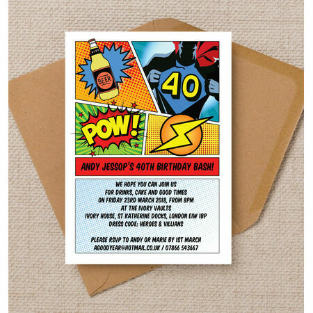 Comic Book Inspired Superhero 40th Birthday Party Invitation From 090 Each