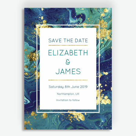Teal Amp Gold Ink Wedding Save The Date From 163 0 85 Each