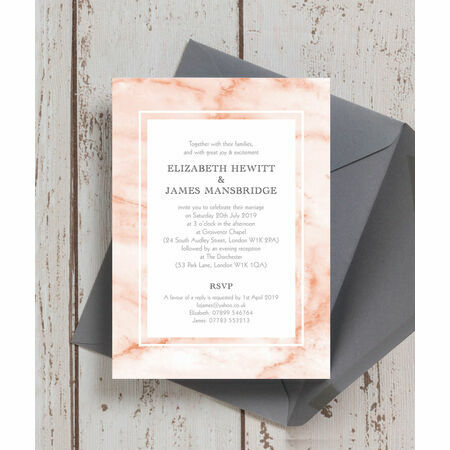 blush marble wedding invitation from a1 00 each
