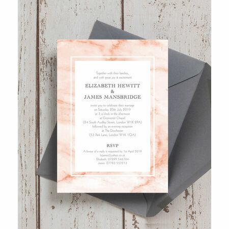 Blush Marble Wedding Invitation from £1 00 each