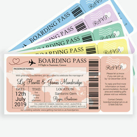 Airline Boarding Pass Travel Themed Wedding Invitation