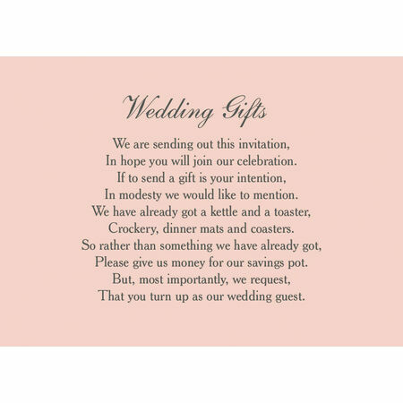 Classic Wedding Gift Wish Card From 0 40 Each
