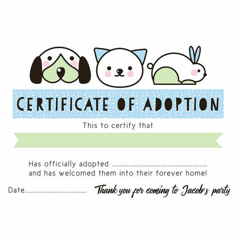 Pet rescue party pretend adoption certificate pink from 080 each pet rescue party pretend adoption certificate blue yelopaper Image collections