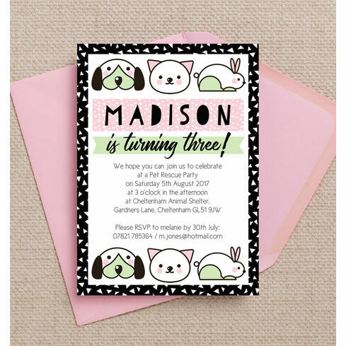 Karaoke themed birthday party invitation from 080 each pet rescue birthday party invitation pink stopboris Choice Image