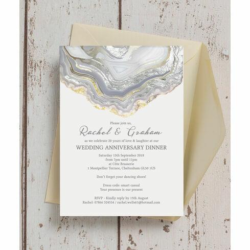 Agate crystal 30th pearl wedding anniversary invitation from 100 agate crystal silver grey wedding anniversary invitation stopboris Images