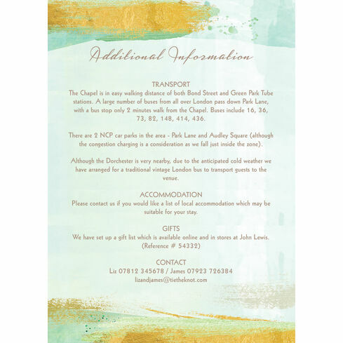 Mint green gold brush strokes wedding invitation from 100 each mint green gold brush strokes guest information card stopboris Image collections