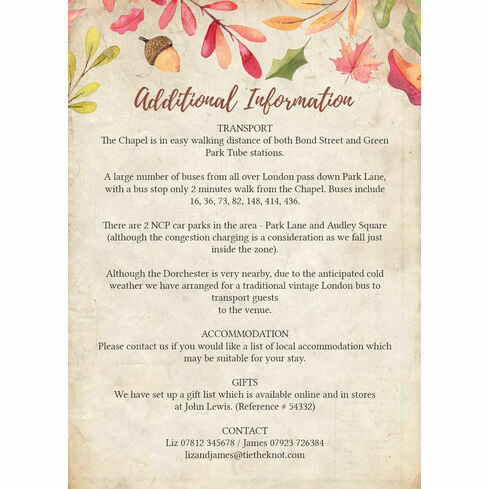 Autumn leaves wedding invitation from 100 each autumn leaves guest information card stopboris Choice Image