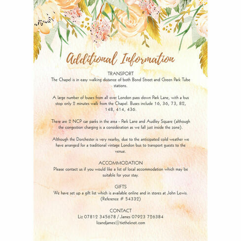 Gold floral wedding invitation from 100 each gold floral guest information card stopboris Image collections