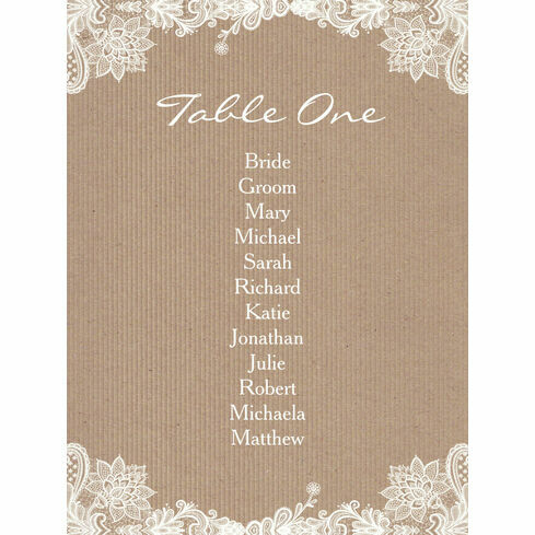 Rustic Lace Table Plan Card