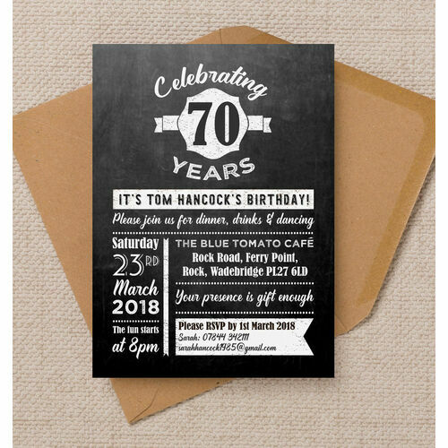 Personalised 70th birthday party invitations chalkboard typography 70th birthday party invitation filmwisefo