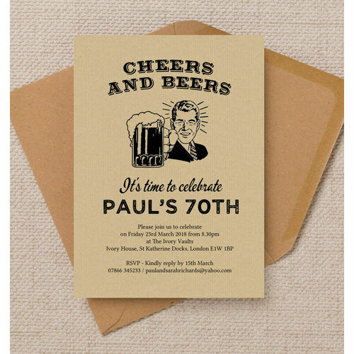 Personalised 70th birthday party invitations cheers beers retro 70th birthday party invitation filmwisefo Choice Image