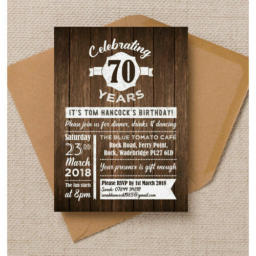 Personalised 70th birthday party invitations rustic wooden background 70th birthday party invitation filmwisefo Choice Image