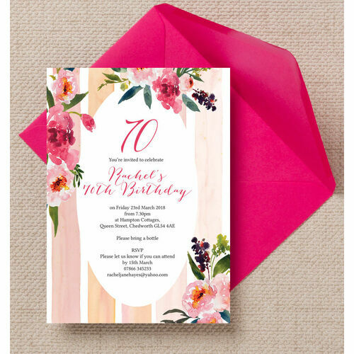 Personalised 70th birthday party invitations painted peonies floral 70th birthday party invitation filmwisefo Choice Image