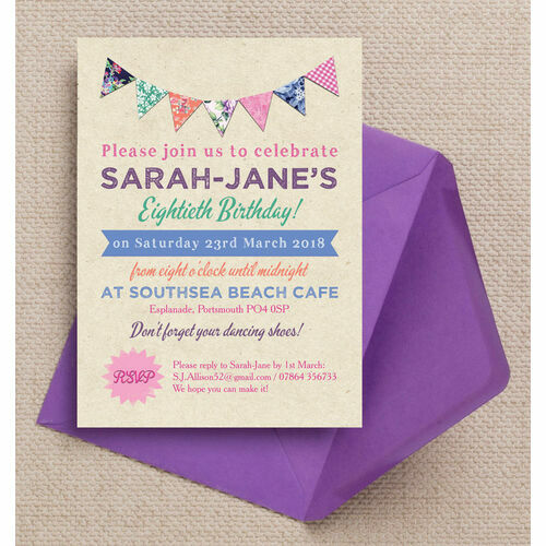 Personalised 80th birthday party invitations rustic colourful bunting 80th birthday party invitation filmwisefo Choice Image