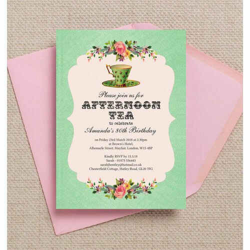Personalised 80th birthday party invitations vintage afternoon tea themed 80th birthday party invitation filmwisefo