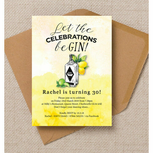 Personalised 30th birthday party invitations gin tonic themed 30th birthday party invitation filmwisefo
