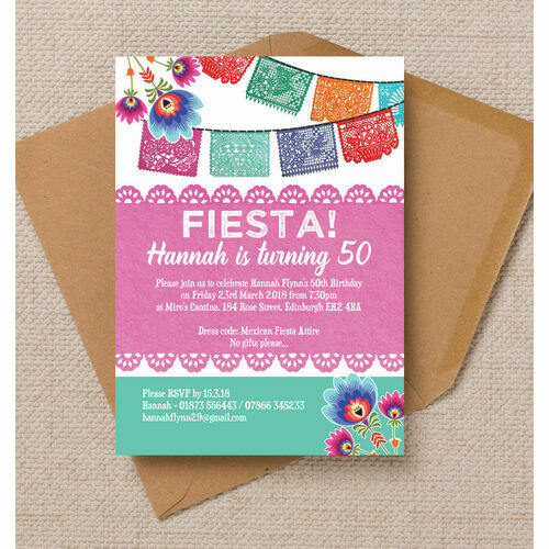 Personalised 50th birthday party invitations mexican fiesta themed 50th birthday party invitation filmwisefo