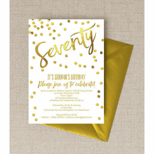 Personalised 70th birthday party invitations gold calligraphy confetti 70th birthday party invitation filmwisefo Gallery