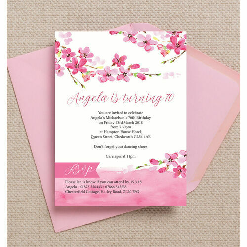 Personalised 70th birthday party invitations cherry blossom pink floral 70th birthday party invitation filmwisefo Gallery
