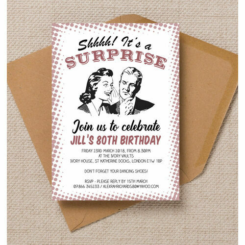 Personalised 80th birthday party invitations retro surprise ladies 80th birthday party invitation filmwisefo