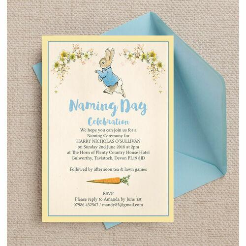 Naming day ceremony invitations peter rabbit naming day ceremony invitation stopboris Image collections