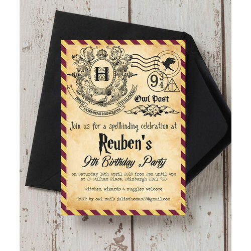 Kids birthday invitations theme age party invites witches wizards birthday party invitation stopboris Image collections