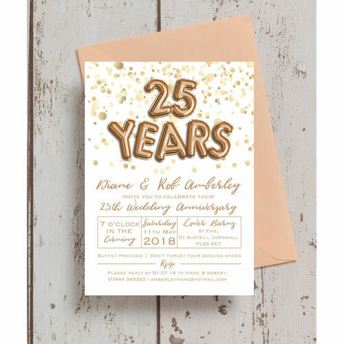 Personalised 25th silver wedding anniversary invitations gold balloon letters 25th silver wedding anniversary invitation stopboris Images