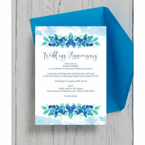 Blueberry 60th / Diamond Wedding Anniversary Invitation ...