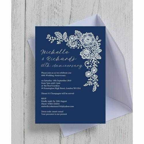Personalised 60th diamond wedding anniversary invitations navy blue floral lace 60th diamond wedding anniversary invitation stopboris Choice Image