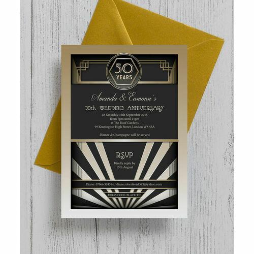 1920s Art Deco 50th / Golden Wedding Anniversary Invitation ...