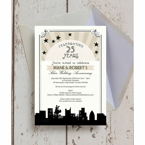 Personalised 25th silver wedding anniversary invitations vintage hollywood 25th silver wedding anniversary invitation stopboris Gallery