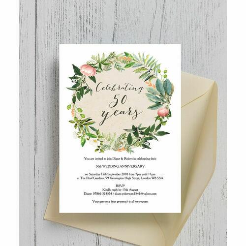 Floral Wreath 50th / Golden Wedding Anniversary Invitation ...