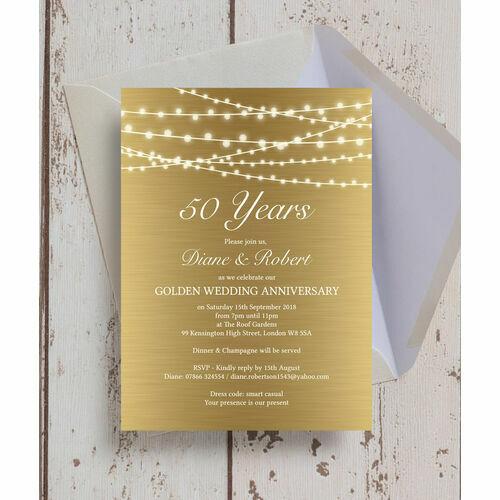 Gold Fairy Lights 50th / Golden Wedding Anniversary Invitation ...