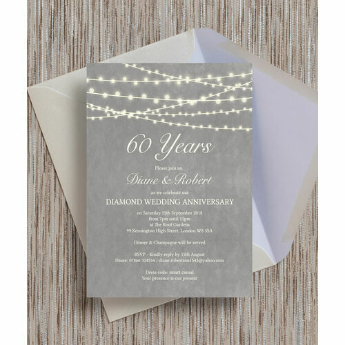 Personalised 60th diamond wedding anniversary invitations grey fairy lights 60th diamond wedding anniversary invitation stopboris Image collections