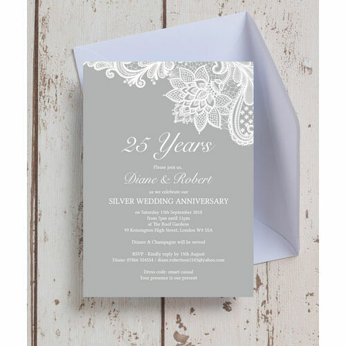 Personalised 25th silver wedding anniversary invitations vintage lace themed 25th silver wedding anniversary invitation stopboris Image collections